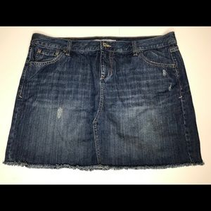 Old Navy distressed jean denim mini skirt 16